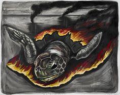 "Artwork: ""BP Burns Turtles"" by Prestigious Award-Winning Vegan Artist Sue Coe"