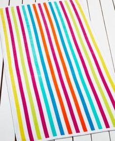 Martha Stewart Collection St. Maarten Stripe Beach Towel, Only at Macy's - Pink
