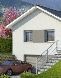 Plan de maison en L Oisans - plan maison gratuit Front Yard Landscaping, Architecture, Facade, Garage Doors, Outdoor Structures, Landscape, Outdoor Decor, Home Decor, Modern Mansion