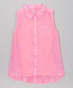 Love this Neon Pop Pink Pleated Back Chiffon Top & Camisole by Star Ride on #zulily! #zulilyfinds