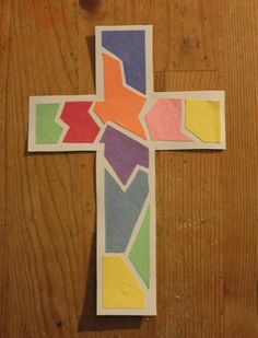 Mosaic Cross Craft  The kiddos will love creating this colorful mosaic craft! Perfect for Easter or whenever you study the story of Jesus' crucifixion and resurrection.  http://craftingthewordofgod.wordpress.com/2013/04/22/mosaic-cross-craft/