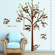 $8.10  - LetS Diy Cartoon Monkey Swing Wall Stickers Childrens Room Nursery Classroom Wall Decoration -- Find out more about the great product at the image link. (This is an affiliate link) #WallStickersMurals