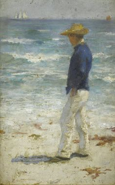Henry Scott Tuke, RA, RWS (British, 1858-1929), 'Looking out to sea',  signed with initials and dated 'H.S.T. 85' (lower right); inscribed 'no.1' in pencil verso, also inscribed 'for E J Mercer' in pencil verso, oil on panel, 22.5 x 14cm (8 7/8 x 5 1/2in).