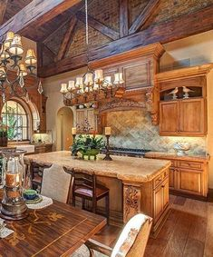 Rustic Italian Home with another beautiful kitchen. Has Tuscan appeal. Love the island. Tuscan Kitchen Design, Rustic Kitchen Decor, Kitchen Ideas, Tuscan Kitchen Colors, Kitchen Updates, Kitchen Designs, Italian Home Decor, Mediterranean Home Decor, Italian Kitchen Decor