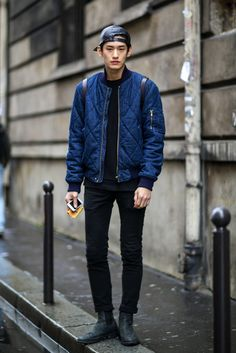 Street Style at Paris Fashion Week 2014 quilt jacket and leather cap