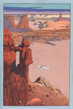 Arzach by Jean Giraud aka Moebius. Jean Giraud, Arte Sci Fi, Sci Fi Art, Art And Illustration, Art Science Fiction, Moebius Art, Moebius Comics, Ligne Claire, Bd Comics