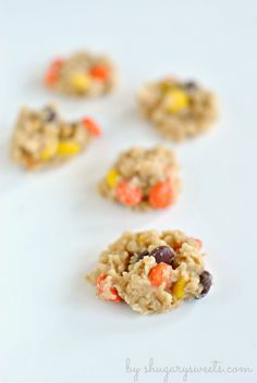 Peanut Butter No Bake Cookies with Reese's Pieces: delicious, no oven necessary treats the whole family will LOVE