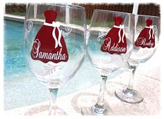 Monogrammed Glasses, Wine Glass, Bridesmaid, Deep, Unique Jewelry, Colors, Handmade Gifts, Crafts, Wedding