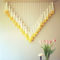 Dip Dyed Tassel Wall Hanging // Mega Yellow via jeanniehelzer etsy shop Diy Wall Art, Diy Art, Diy Wall Hanging, Window Hanging, Deco Boheme, Diy Décoration, Diy Projects To Try, Diy Room Decor, Diy And Crafts