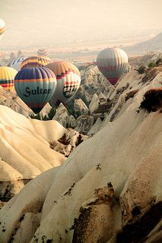 Hot air balloons in Capadocia, Turkey.