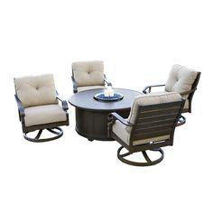 Conversation Sets - Aluminum Chat Sets - Versailles 5 Piece Set - 4 Swivel Chairs and 1 Fire Pit Table