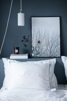 decor with plants decor grey and pink decor blue and white decor navy blue bedroom decor decor ideas diy decor shops bedroom decor Blue Gray Bedroom, Blue Rooms, Blue Walls, Bedroom Colors, Bedroom Decor, Grey Wall Bedroom, Bedroom Ideas, Grey Bedrooms, Bedroom Inspo
