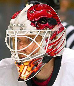 NHL Goalie Masks by Team - Miikka Kiprusoff Hockey Helmet, Hockey Goalie, Hockey Players, Ice Hockey, Football Helmets, Nhl, Sports Illustrated Kids, Hockey Pictures, Mask Painting