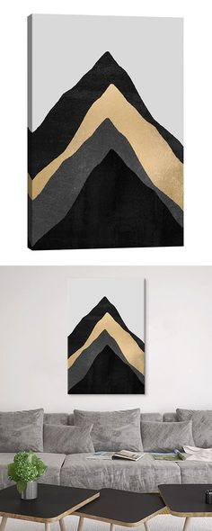 Your future is coated in gold. Add depth to a bare slice of wall space with this stunning Climb Canvas Print. Gorgeous black, gold, and slate peaks are stacked at the center of this dazzling contempor (Canvas Diy Ideas) Diy Canvas Art, Diy Wall Art, Wall Canvas, Wall Decor, Deco Surf, Art Sur Toile, Figurative Kunst, Art Watercolor, Diy Painting