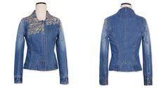 Жакеты, пиджаки : Джинсовый жакет на замке с фигурным вырезом и вышивкой