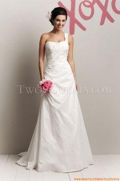 Einschulter A-linie Bodenlang Schlicht Elegante Brautkleider