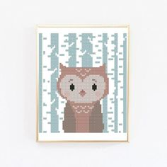 Cross Stitch Owl, Baby Cross Stitch Patterns, Cat Cross Stitches, Cross Stitch Alphabet, Cross Stitch Designs, Woodland Animal Nursery, Woodland Animals, Deer Fabric, Hama Beads Design