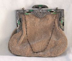 VINTAGE ORNATE FRENCH BEADED EVENING BAG/PURSE ART DECO NR