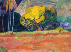 Fatata Te Moua, au pied de la Montagne 1892 Paul Gauguin (1848-1903) est arrivé à Tahiti en 1891. Il était à la recherche d'un romantisme exotique, d'une harmonie naturelle. Musée d'Etat de l'Art nouveau occidental Moscou.