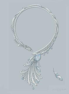 Paon de Lune necklace - Drawing #HoteldelaLumiere #HighJewelry #Boucheron