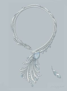 Paon de Lune necklace - Drawing #HoteldelaLumiere #HighJewelry #Boucheron