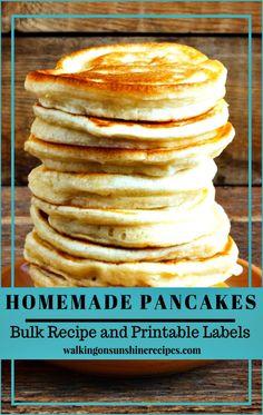 Homemade Bulk Pancake Recipe Mix with Printable Labels from Walking on Sunshine Recipes. Waffle Mix Recipes, Recipe Mix, Bulk Recipe, Pancake Recipes, Homemade Recipe, Homemade Pancakes, Pancakes Easy, Breakfast Pancakes, Breakfast