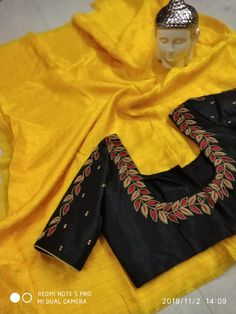 *Jute saree with cut work blouse Cutwork Blouse Designs, Simple Blouse Designs, Stylish Blouse Design, Blouse Neck Designs, Black Blouse Designs, Cut Work Blouse, Hand Work Blouse Design, Mirror Work Blouse, Aari Work Blouse