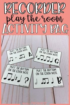 """This product was inspired by """"write the room"""" activities. Rather than students writing as they travel around the room, they will use their recorders to """"play the room."""" I use this activity during small group/station time and when I'm working with individual students. It gives the class a chance to move about the room and practice playing various rhythms.56 Task Cards! Click through to see which rhythms! #musicclassroom #recorder #music Music Classroom, Classroom Activities, Listening Activities, Classroom Ideas, Educational Activities, Learning Resources, Music Flashcards, Music Worksheets, Recorder Music"""