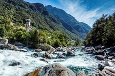 """#Lavertezzo: The village itself is well-known for its two-arched bridge, the """"Ponte dei Salti"""", across the #Verzasca Valley, which is sometimes wrongly referred to as a Roman #bridge. It is a favourite bathing destination for those who love to take a dip in the river's green waters. #myasconalocarno #visitTicino © Alessio Pizzicannella"""