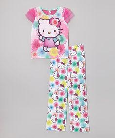 Another great find on #zulily! Purple & Aqua Hello Kitty Pajama Set - Girls by Hello Kitty #zulilyfinds