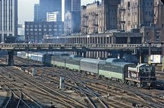 https://flic.kr/p/FAHdsY | Burlington Northern NW2 524 (ex-CB&Q 9227) working the North Coast Limited and Empire Builder cars on Chicago Union Station leads | Photo taken from the Roosevelt Road Viaduct, Chicago, IL on March 30, 1971 (a month before Amtrak Day).