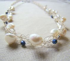 Creamy Freshwater Pearl Crochet Wire Necklace // by ElephantBeads