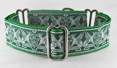 Celtic Hounds Green, a martingale or side-release buckle dog collar featuring a fabled Celtic Hound design in shades of green with grey accents.: The Regal Hound - Unique fashionable designer martingale and buckle dog collars, from cute to fancy, humane and soft choke for all canine breeds