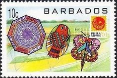 Stamp: Various kites (Barbados) (Phila Nippon '01, Japan) Mi:BB 1007,Sn:BB 1006,Yt:BB 1052