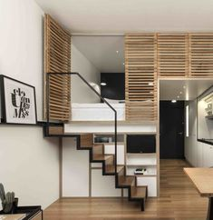 Home Designing — (via 4 Awesome Small Studio Apartments With Lofted. Home Designing — (via 4 Awesome Small Studio Apartments With Lofted. Tiny Loft, Tiny House Loft, Tiny House Design, Condo Interior, Home Interior Design, Small Loft Apartments, Loft Beds For Small Rooms, 4 Bedroom Apartments, Studio Apartment Layout