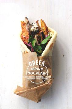 Greek Chicken Souvlaki {street food monday}--love the graphic