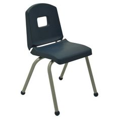 "Mahar Creative Colors Creative 12"" Plastic Classroom Chair Frame Finish: Brushed Metal, Foot Type: Glide, Seat Color: Navy"