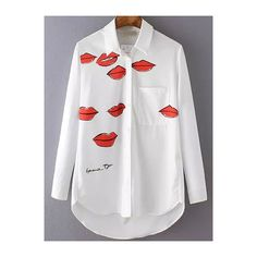 White Lapel Lips Print Loose Blouse (323330 BYR) ❤ liked on Polyvore featuring tops, blouses, white, loose fitting blouses, embellished collar blouse, white long sleeve blouse, white collared blouse and collared blouse
