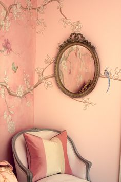 Painted chinoiserie tree and birds by Ali Kay - Pretty pink girl's room. Young but sophisticated and a bit French looking.