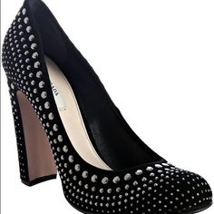 "Prada Black Suede Studded high heel Pumps10/40 NWT Prada Black Suede High-Heel Pumps.  Stidded Metal adorns the entire pump.  Approx. 4"" heel.  40/10 NWT and box Prada Shoes Heels"