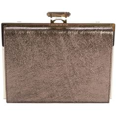 Pre-owned Louise et Cie Metallic Ivie Clutch (1,760 MXN) ❤ liked on Polyvore featuring bags, handbags, clutches, gold, chain handle handbag, brown handbags, pre owned handbag, clasp purse and metallic clutches