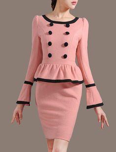 Pink Woolen Dress Elegant Peplum Working Dress