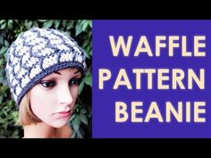 How to crochet waffle pattern beanie hat - YouTube