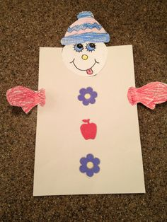 A snowman made by Lindsey , 6 years old • Art My Kid Made #kidart #snowman #winter