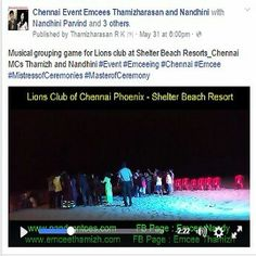 Musical grouping game for Lions club at Shelter Beach Resorts_Chennai MCs Thamizh and Nandhini  ‪#‎Event‬‬ ‪#‎Emceeing‬‬ ‪#‎Chennai‬‬‪#‎Emcee‬‬ ‪#‎MistressofCeremonies‬‬‪ #‎MasterofCeremony‬‬ https://www.facebook.com/chennaieventcohosts/videos/212324449160664/