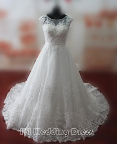 Real Samples Sheer Jewel Neckline Wedding Dresses with Pearls Lace-up Chapel Train Lace Bridal Gowns Custom Made Wedding Gowns by IVIDRESS on Etsy