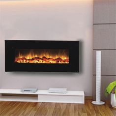 Touchstone 80001 Onyx Contemporary Electric Wall Mounted Black Fireplace