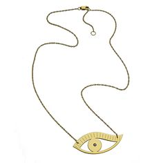 "Priscilla 1.5"" Large Eye Necklace with sapphire on an adjustable 15""/16"" rope chain. Pendant is approximately 1.5"" wide and 5/8"" tall. Sterling silver, Rose vermeil or Gold vermeil. $242-"
