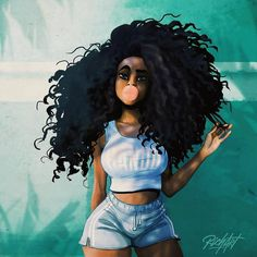 Art by @richartiste)  #richartiste #illustration #carribean #black #curlyhair #black #blackwoman #art #digitalart