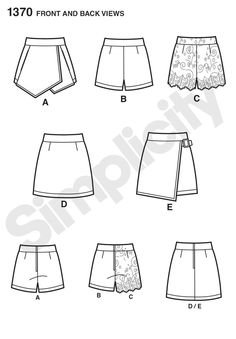 "misses asymmetric skort with pockets or mini skirt with buckle, shorts with or without scalloped overlay and mini skirt are must haves for this season. all have back zipper. simplicity sewing pattern by in k.<p> </p><img src=""skins/skin_1/images/icon-printer.gif"" alt=""printable pattern"" /> <a href=""#"" onclick=""toggle_visibility('foo');"">printable pattern terms of sale</a> <div id=""foo"" style=""display:none; margin- top: 10px;"">digital patterns are tiled and labeled so you can prin..."
